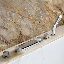 Waterfall Roman Tub Modern Filler with Hand Shower Bathroom Bathtub Faucets