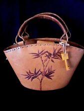 FOSSIL Natural ALOHA Satchel Genuine Italian Leather Purse Hand Bag ZB8608101