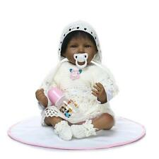 "22"" Handmade Baby Black Girl Doll Silicone Vinyl Reborn Newborn Dolls + Clothes"