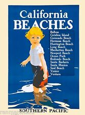 Southern California Beaches United States America Travel Advertisement Poster