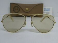 New Vintage B&L Ray Ban 70's Large Metal Gold Changeable Brown Aviator 58mm USA