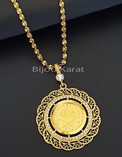 Tugra Altin Kolye Osmanli Türkische Gold Münze 22 Karat vergoldet Goldkette NEU