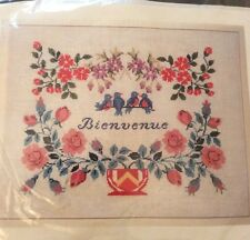 Bienvenue Welcome Counted Cross Stitch Kit Laurence Roque From Paris Bird Flower