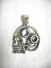 NEW STEAMPUNK HUMAN SKULL w GEARS in CRANIUM PEWTER PENDANT ON ADJ CORD NECKLACE