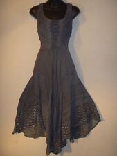 Dress Fits L XL 1X Renaissance Gray Corset Stone Wash Sexy Lace Hem Long 600
