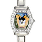 Penguin Lover Cubic Zirconia Womens Stainless Steel Italian Charms Watch BJ1166