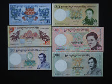 BHUTAN SUPERB BANKNOTE SET OF SIX IN MINT UNC  * TOP VALUE *  DATE 2006 - 2013