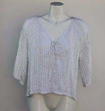 RUBY YAYA Solid Shirt W/ White Lace & Pintuck V-Neck & 3/4 Sleeves NWT SZ Small