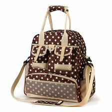 Babyhugs® 5pcs Nappy Changing Diaper Backpack Bag - Brown with White Polka Dots