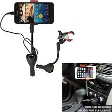 3in1 Car Holder Dual USB Charger Port +Cigarette Lighter Power Outlet for iPhone