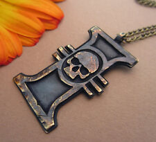 Warhammer 40K Inquisition Ancient  Metal Pendant Necklace With Chain Brass Casti
