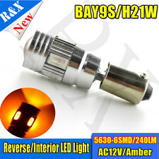 2X H21W BAY9s AMBER 6 SMD 5630 LED CAN OBC ERROR FREE Car Recerse bulbs AC 12V