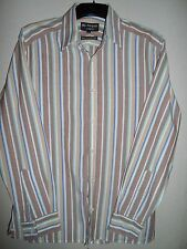 MARKS & SPENCER AUTOGRAPH BY NIGEL HALL BROWN AQUA & LIGHT RED STRIPED SHIRT S