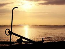 ANCHOR SEASHORE SEPIA SILHOUETTE PHOTO ART PRINT POSTER PICTURE BMP1456A