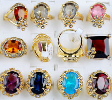 wholesale jewelry lots 5pcs Gold Plated Big Natural stone Rings free shipping