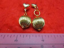 14KT GOLD EP  SHINY FLUTED BALL DROP EARRINGS WITH HEART POSTS-12MM OR 1/2 INCH