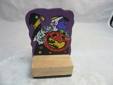 Halloween rubber stamp with witch and jack o' Lantern pumpkin