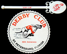 Vintage 1970's DERBY LANE GREYHOUND TRACK Dog Racing DRINK STIRRER Beer Coaster