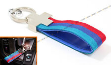 RED BLUE M TECH COLORWAY CLOTH LEATHER QUALITY KEY FOB CHAIN RING FOR BMW OWNER
