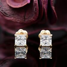 1 CT PRINCESS CUT SQUARE STUD EARRINGS 14K SOLID YELLOW GOLD BASKET SCREWBACK