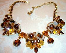VINTAGE JULIANA FOR HOBE SIGNED RHINESTONE TULIP NECKLACE