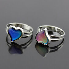 Color Changing Silver-Plated Heart-Shaped Mood Ring Adjustable Ring Band