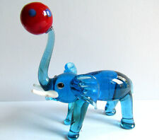 Blue Vintage ELEPHANT Playing Ball Blown Glass Miniatures Figurine Wild Animal