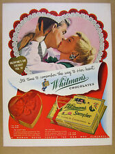 1950 Whitman's Sampler Chocolates heart box valentine's day vintage print Ad