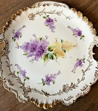 Antique French Limoges Hand Painted Gold Gilt and Floral Handled Plate
