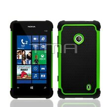 Hybrid Armor Impact Dual Layer Shock Proof Case For Nokia Lumia 521 - Green
