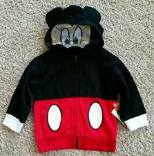 NWT MICKEY Mouse Jacket Boy's Hooded EARS Hoodie size 2T with Mask on hood
