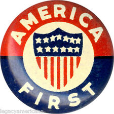 1930s WWII Neutrality AMERICA FIRST COMMITTEE Official Logo Button (2018)