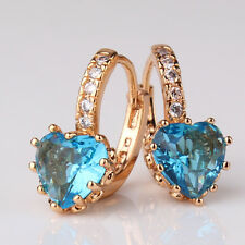 Hoop ladies UNIQUE heart  hot sale 18k gold filled aquamarine party earring!