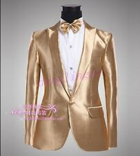 Shiny Mens One Botton Gold Costume Blazers Tuxedo Wedding Coats Short Jackets Sz