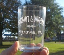 HANOVER,PA SCHMIDT & JORDAN PRE PRO ETCHED ADVERTISING BEER GLASS RARE 1900