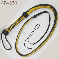 Genuine Real Leather 4 Feet Long 12 Plait weaving Bull Whip Yellow & Black
