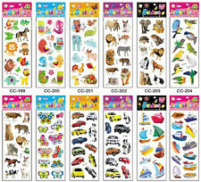 Pack of 10 Sheets Cartoon Figure Fruit Animal Car Sticker with 3D Effect