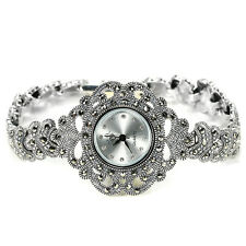 Sterling Silver 925 Lovely Antique Design Genuine Marcasite Watch 7 Inches