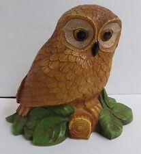 """Owl on Log Carved Wood Look Figurine Resin Figure 5.5"""" tall"""