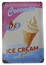 Ice Cream Tin Sign Diner Cafe Garage Wall Decor Retro Metal Bar Art Vintage New