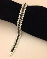 New Stunning Ladies 3 Row Crystal Diamante / Diamonte Silver/Black Bracelet