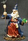 WARD OFF Wizard with Staff and Crystal Book Statue Figurine H4.5""