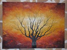 toile,tableau,peinture paysage,arbre coucher de soleil multicolore jaune rouge