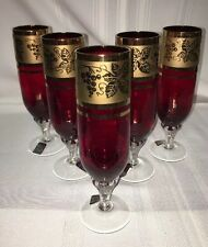 Vintage Bohemian Style 6 Ruby Red Champagne Flutes Gold Guild Design