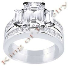 3.79 Ct. Emerald Cut Diamond Engagement Bridal Set
