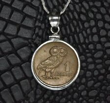 Owl of Goddess Athena 1 Drachma Phoenix Greek Coin 925 Sterling Silver Necklace
