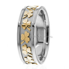 10K Gold Celtic Wedding Bands Ring Irish Clover Mens Womens Wedding Bands Rings