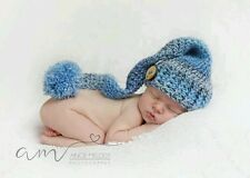 Hand made crochet newborn baby  long tail elf hat with pom pom a photo prop.
