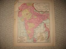 ANTIQUE 1885 BRITISH INDIA COLONIAL HANDCOLORED MAP CEYLON SRI LANKA DETAILED NR