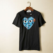 COMME DES GARCONS CDG PLAY Men's White T-shirt CAMO HEART A Bathing Ape Large